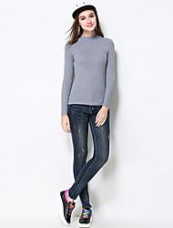 Damen Übergrössen Skinny Jeans Hose-Lässig/Alltäglich Einfach einfarbig Hohe Hüfthöhe Reisverschluss Baumwolle Dehnbar Herbst / Winter