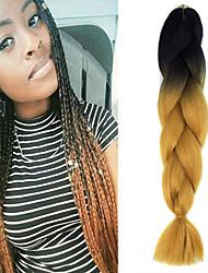 "1 Pack Black Ombre Yellow Brown Crochet 24"" Yaki Kanekalon Fiber 100g 2 Tone Jumbo Braids Synthetic Hair"