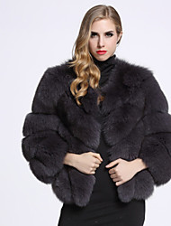 BF-Fur Style Women's Casual/Daily Sophisticated Fur CoatSolid U Neck Long Sleeve Winter Gray Fox Fur