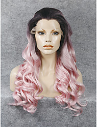 IMSTYLE 24'Drag Queen Pink Dark Root Heat Resistant Long Wave Synthetic Lace Front Wig