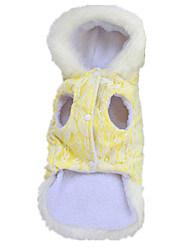 Dog Coat Hoodie Dog Clothes Casual/Daily Keep Warm Solid Yellow Blue