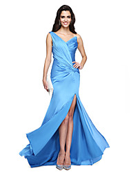A-Fu Formal Evening Dress - Beautiful Back Sheath / Column One Shoulder Court Train Chiffon with Side Draping