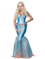 Mermaid Tail Fairytale Festival/Holiday Halloween Costumes White Blue Solid DressHalloween Christmas Carnival Children's Day New Year