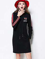 MEIDONGTAI Women's Casual/Daily Simple Shift DressStriped Hooded Above Knee Long Sleeve Black Cotton Winter Mid Rise Micro-elastic Thick