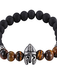 Kalen New Punk Jewelry Stainless Steel Warrior Helmet Charm Bracelet Black Plastic Beads Strand Bracelets Men's Gothic Cool Gifts