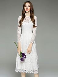 Mujer Línea A Vestido Casual/Diario Simple,Bordado Escote Redondo Midi Manga Larga Blanco Poliéster Otoño Tiro Medio Rígido Medio