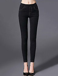 Women's Skinny Slim Jeans PantsGoing out Simple Solid High Rise Button Cotton Stretchy Winter