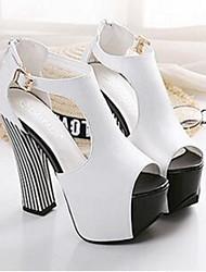 Damen-Sandalen-Lässig-PUKomfort-Schwarz / Weiß