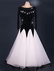 Dança de Salão Vestidos Actuação Elastano Organza Cristal/Strass Pano Paetês 1 Peça Luva de comprimento de 3/4 Alto VestidosS-XXXL: