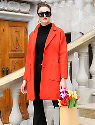 FRMZ  Women's Casual/Daily Simple CoatSolid Peaked Lapel Long Sleeve Winter Red Wool / Polyester