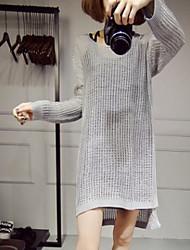 Damen Lang Pullover-Ausgehen Lässig/Alltäglich Retro Einfach Solide Beige Schwarz Grau Rundhalsausschnitt Langarm Wolle PolyesterHerbst