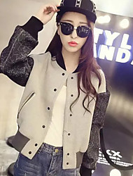 Women's Casual/Daily Simple Jackets,Print Crew Neck Long Sleeve Winter Blue Polyester Medium