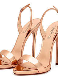 Damen-Sandalen-Hochzeit Büro Kleid Lässig Party & Festivität-PU-Stöckelabsatz-Fersenriemen-Gold Schwarz Rot Hautfarben Champagner