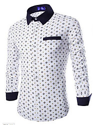 Men's Going out Simple Shirt,Print Square Neck Long Sleeve Blue / White Cotton