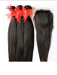 6a cabelo virgem brasileiro não transformados em linha reta com fecho 3 pacotes com fecho de 4 * 4 laço tecer cabelo humano com fecho