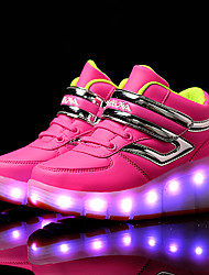 LED Light Up Shoes, Girl's Boots Spring / Summer / Fall / Winter Comfort Synthetic Casual Flat Heel Magic Tape / Blue / Green / Pink / Black and Red /