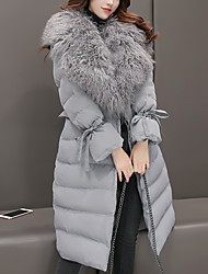 Women's Long Padded CoatSimple / Casual/Daily Print Cotton Polypropylene / Cotton Long Sleeve Fur Trim