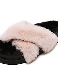 Women's Slippers & Flip-Flops Winter Slingback Fur Casual Low Heel Others Black / Pink / Gray Others