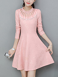Women's Slim Velvet chic A Line / Lace DressSolid Stand Mini Long Sleeve Pink / White / Black / Yellow Polyester Spring Mid Rise
