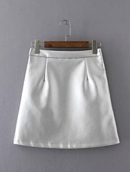 Women's A Line Solid Skirts,Going out / Casual/Daily Simple / Street chic High Rise Mini Zipper PU Inelastic Fall / Winter