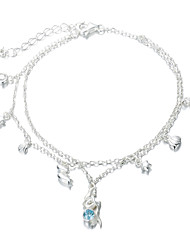 SILVERAGE 925 Sterling Silver Blue CZ Mermaid Bracelet &Two Layer Charm Bracelet