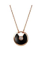 Colliers Tendance Pendentif de collier Bijoux Quotidien Circulaire Argent sterling Femme 1pc Cadeau Gris