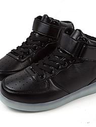 Unissex-Tênis-Conforto Sapatos de Berço Tira no Tornozelo-Rasteiro-Preto Vermelho Branco-Couro Ecológico-Casual Para Esporte