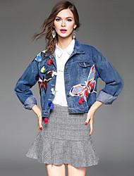 Feminino Jaquetas Jeans Para Noite / Casual / Férias Moda de Rua / Punk & Góticas / Sofisticado Outono / Inverno, Floral / Bordado Azul