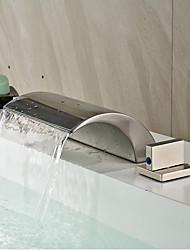Modern Diffusion large Cascade with  Valve en céramique Deux poignées trois trous for  Nickel brossé , Robinet lavabo