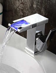 Color Changing LED Bathroom Sink Basin Faucet Waterfall Mixer Tap Chrome Brass Bathroom Sink Faucet