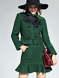 AGD Women's Casual/Daily Simple Fall Set Skirt SuitsSolid Stand Long Sleeve Green Others