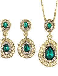 Schmuck 1 Halskette / 1 Paar Ohrringe Strass Party / Alltag / Normal 1 Set Damen Goldfarben Hochzeitsgeschenke