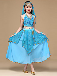 Belly Dance Outfits Women's Performance Polyester / Chiffon Coins / Sequins 6 Piece Solid Sleeveless Dance Costumes
