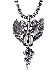 Kalen® Rock Stainless Steel Skull With Butterfly Wings Pendant Long Chain Necklace Punk Men's Necklace Cool Accessories