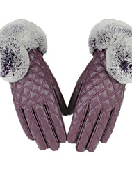 Warm Rabbit Hair Mouth Touch Gloves (Purple)