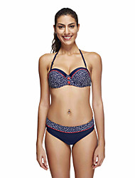 Women's Halter Bikini,Plunging Neckline / Dot / Sport / Bandage Spandex Royal Blue