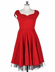 Women's Formal Simple Swing Dress,Solid V Neck Midi Long Sleeve Red / Black Cotton Fall / Winter High Rise Micro-elastic Medium