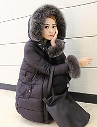 Women's Solid Black Down CoatSimple Hooded Long Sleeve