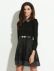 Women'S Stylish Pan Collar Pleats Dress with Belt