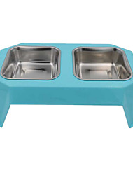Gato / Cachorro Comedouro Animais de Estimação Tigelas e alimentação de animais Prova-de-Água / Casual Cor AleatóriaPlástico / Aço