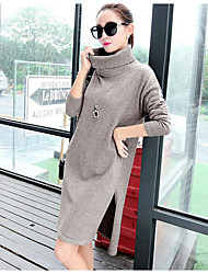 Women's Going out Vintage Sweater Dress,Solid Cowl Midi Long Sleeve Red / White / Gray Polyester Spring High Rise Micro-elastic Medium