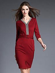 Gaine Robe Femme Travail / Soirée / Cocktail Sexy / Chic de Rue,Couleur Pleine Col en V Au dessus du genou Manches ¾ Rouge / Noir / Gris