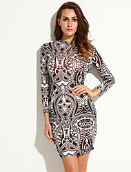 Women's Club Sexy Bodycon Dress,Print Turtleneck Above Knee Long Sleeve Black Polyester / Spandex Spring / Fall
