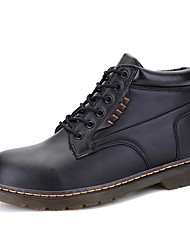 Men's Boots Spring Fall Winter Comfort Leatherette Outdoor Casual Athletic Low Heel Black Brown