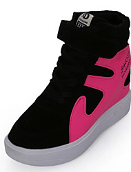 Women's Sneakers Spring Fall Comfort Patent Leather Casual Athletic Low Heel Lace-up Magic Tape Black Red Gray Fuchsia