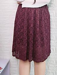 Damen Einfach Midi Röcke Schaukel,Gefaltet einfarbig