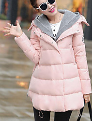 Manteau Doudoune Femme,Normal simple Décontracté / Quotidien Couleur Pleine-Polyester Duvet de Canard Blanc Manches Longues Rose / Noir