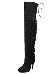 Damen-Stiefel-Kleid-Vlies-StöckelabsatzSchwarz