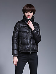Women's Short Down Coat,Simple Casual/Daily Solid-Cotton White Duck Down Long Sleeve Blue / Pink / Black