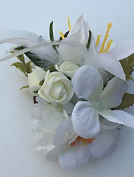 Wedding Flowers Roses Lilies Boutonnieres Wedding Party/ Evening Satin Leather Rhinestone